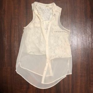 Guess Sheer Lace Blouse Tank
